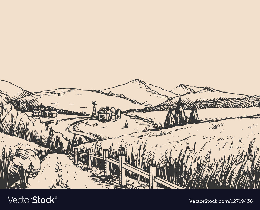 Rural landscape with hills in the graphic style