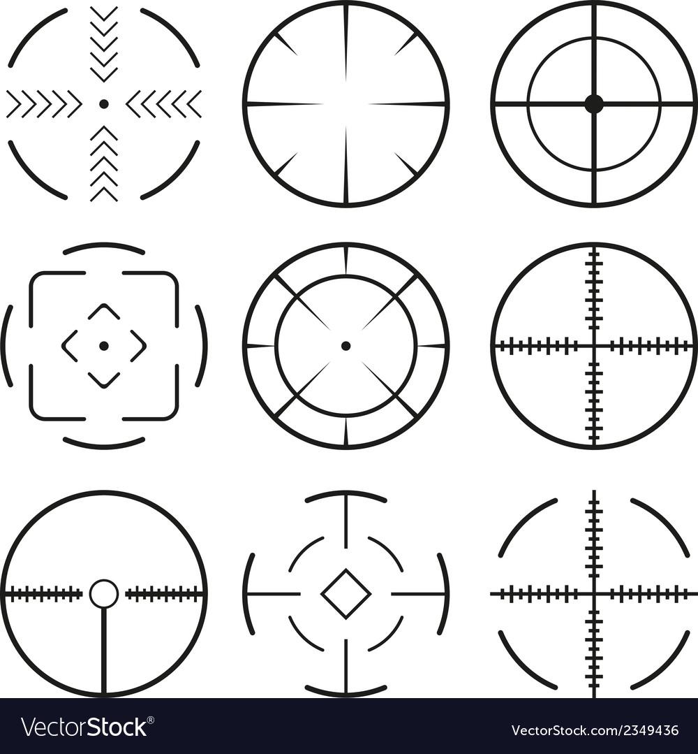 Set of black crosshairs icons Isolated on white
