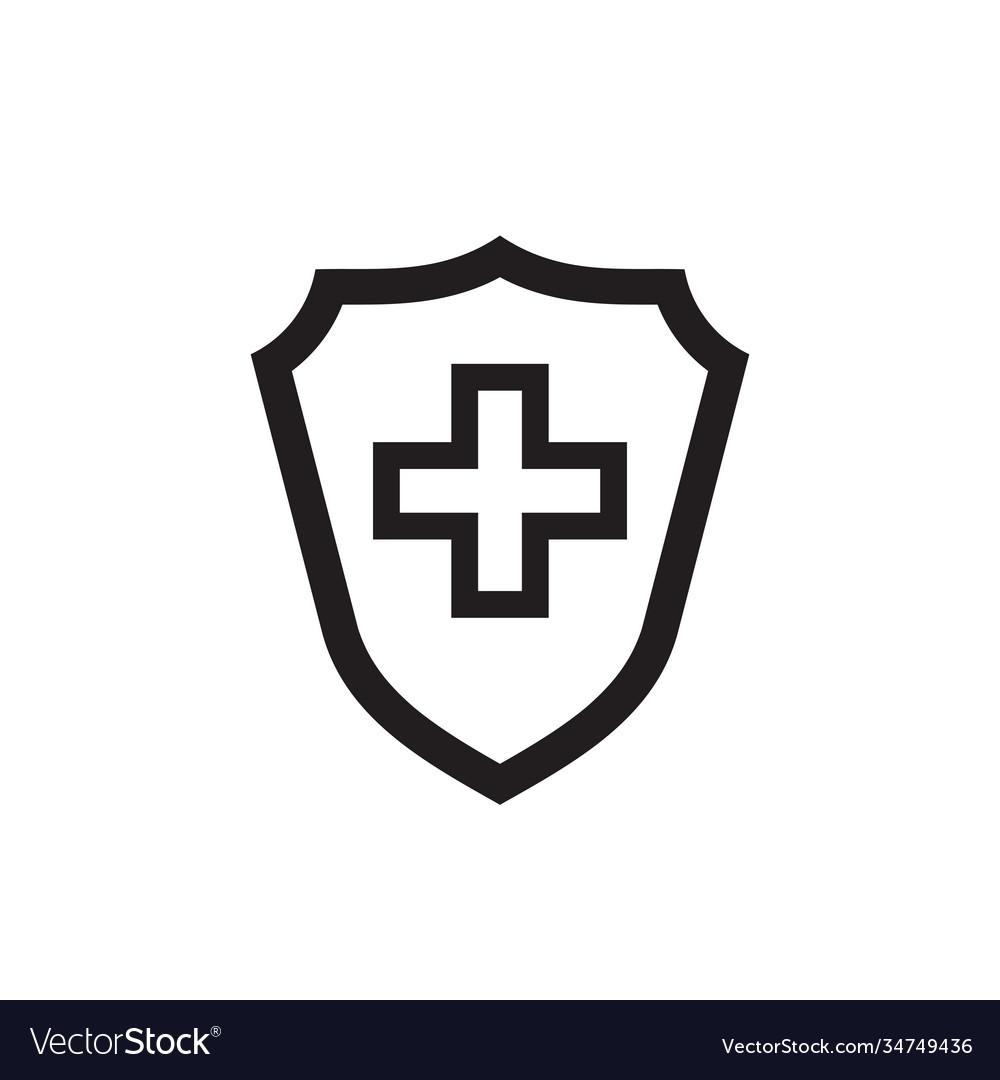 Shield protection medical cross black icon design