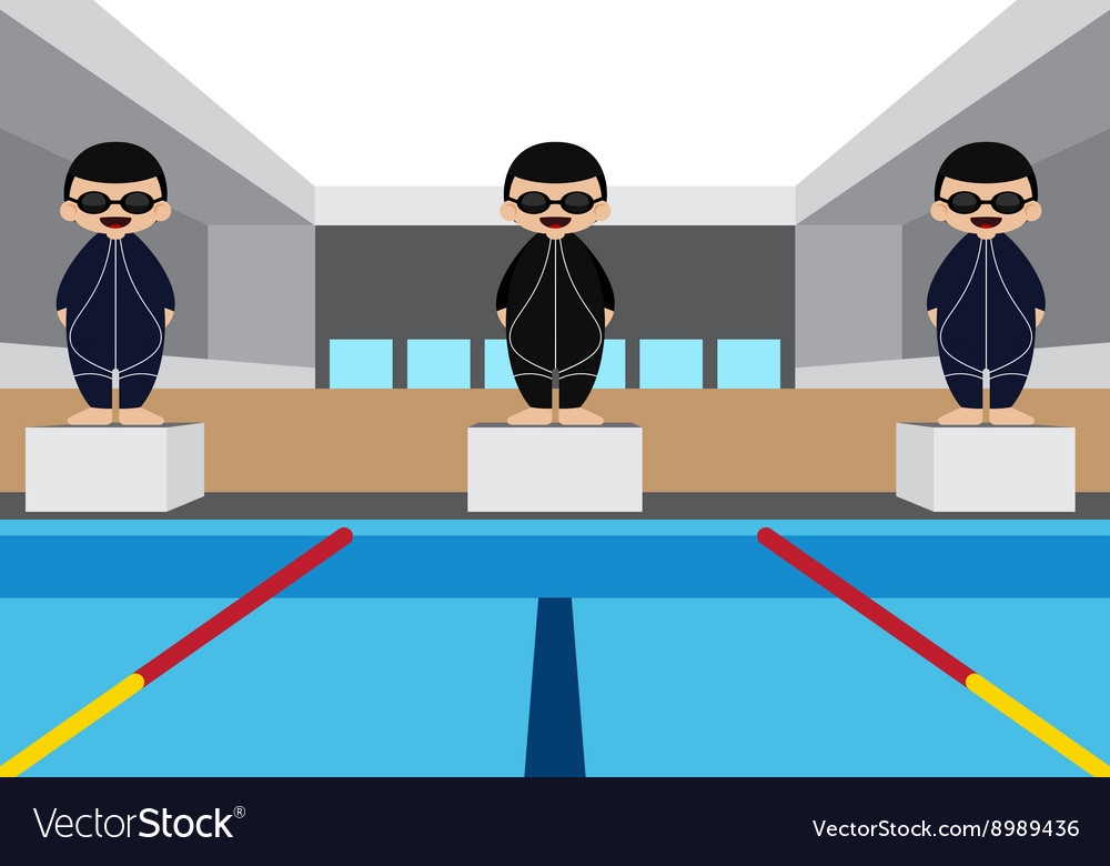 Swimming pool with swimming athlete