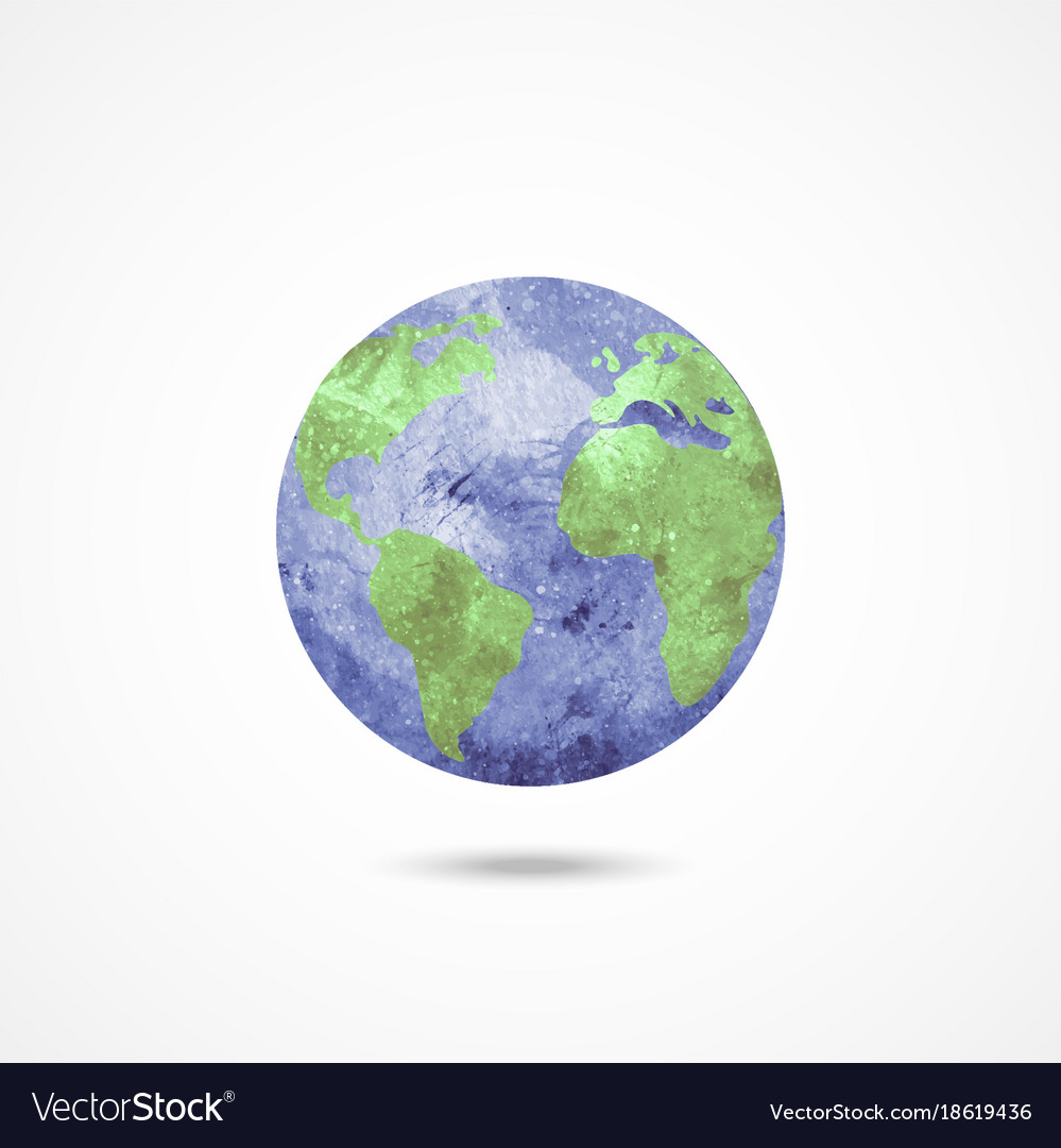 Watercolor earth globe on white