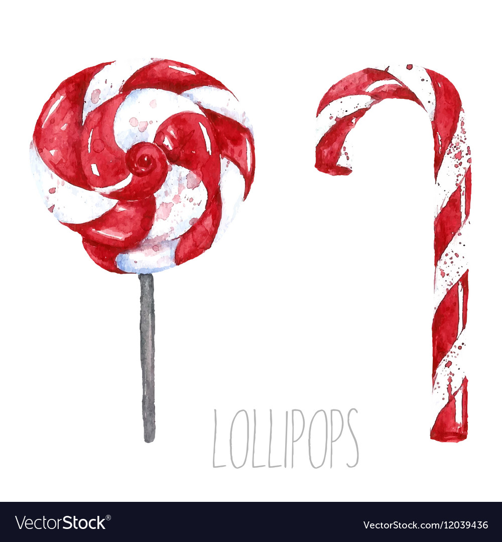 Watercolor lollipop Hand drawn isolated sweet
