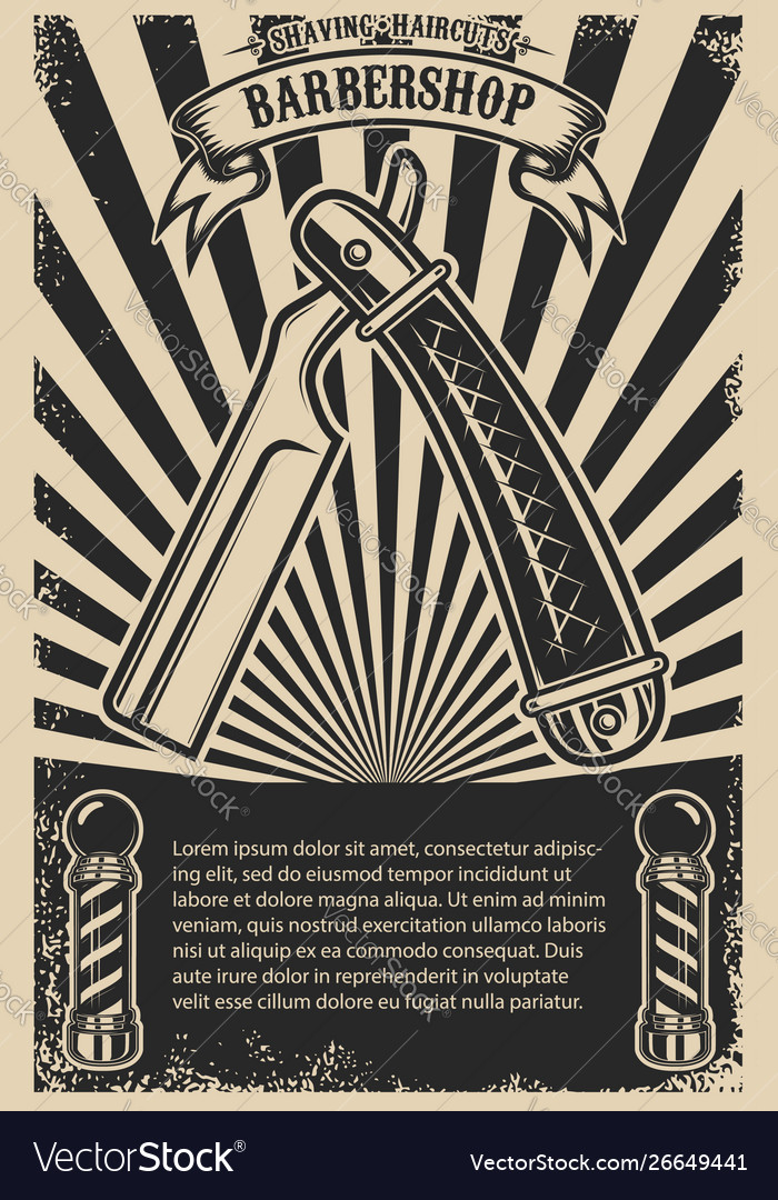 Barbershop poster template with retro style razor
