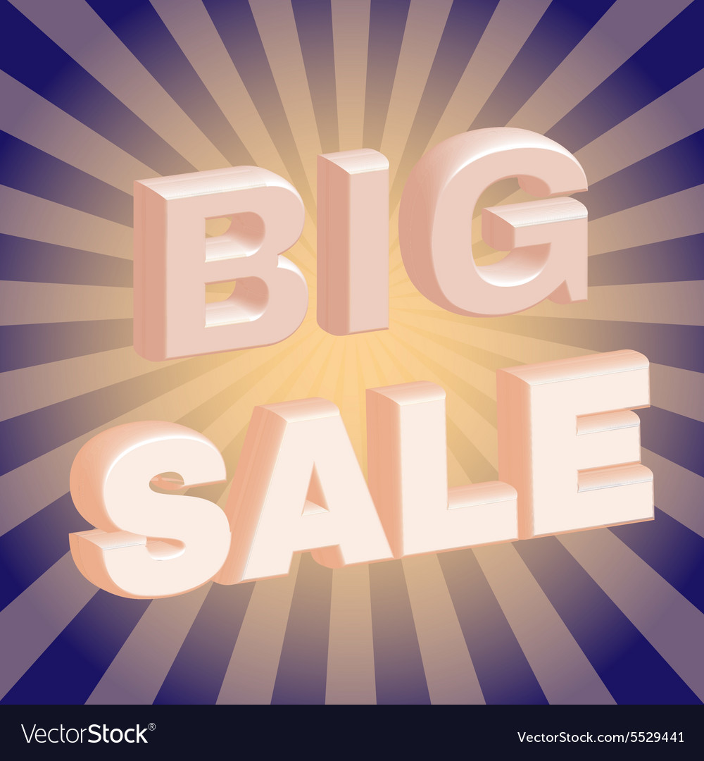 Big Sale 3D Promotion Flyer vector image