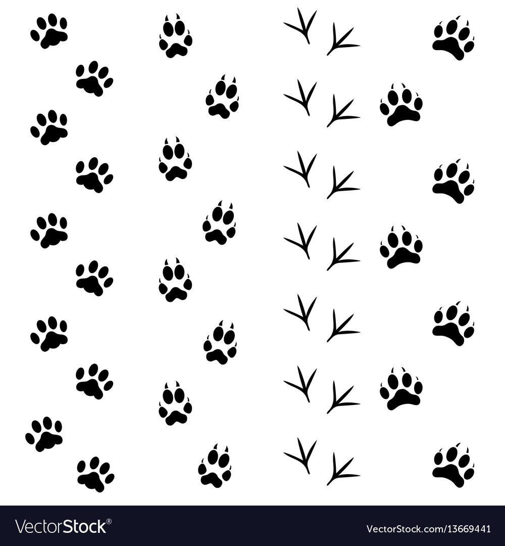 Black animal tracks set