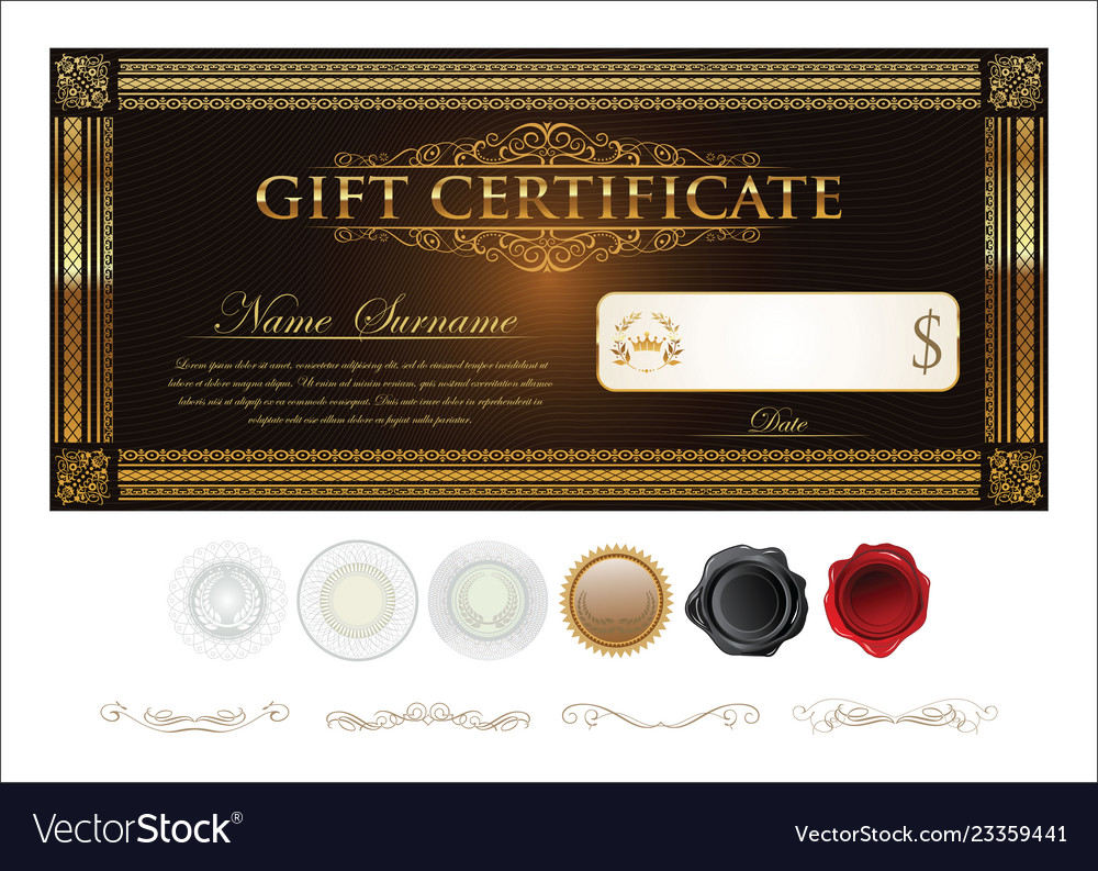 Gift Certificate Retro Vintage Template Royalty Free Vector