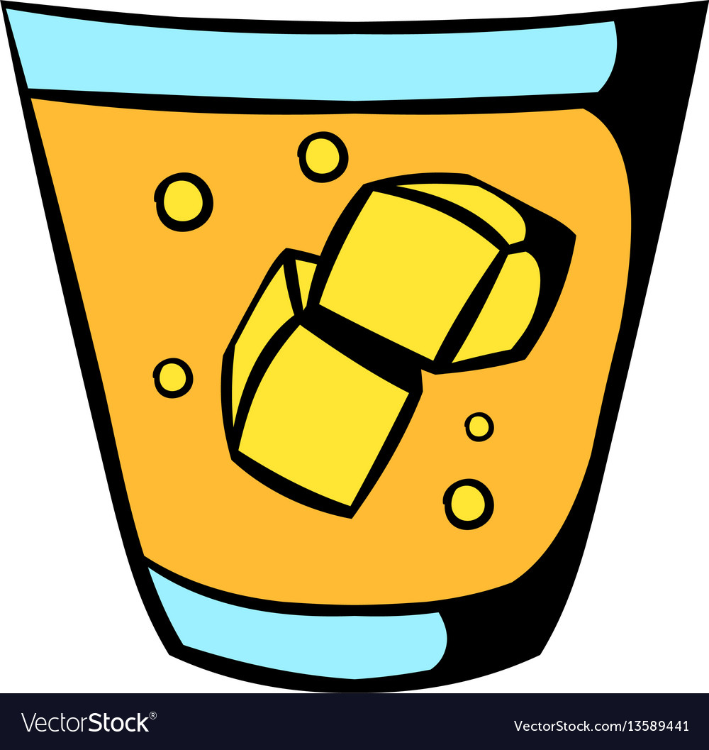 Glass of whiskey and ice icon icon cartoon