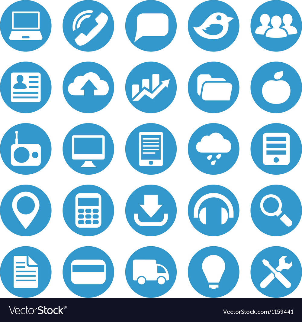 Icons for web site in blue circle vector