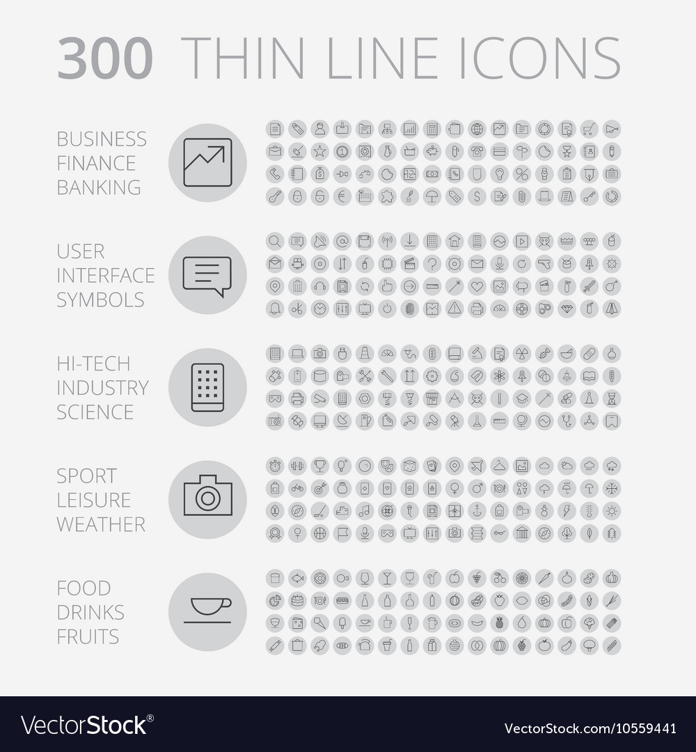 Icons line set round thin