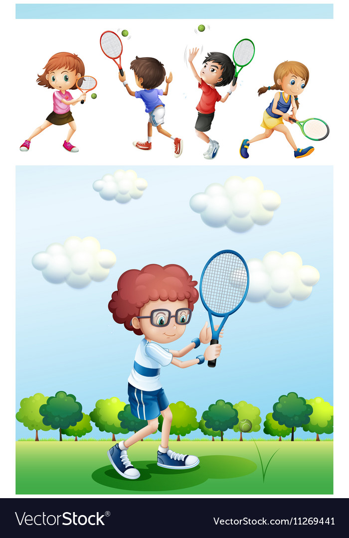 Kids playing tennis in park