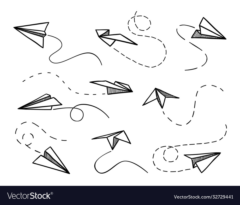 Paper airplane flying planes from different