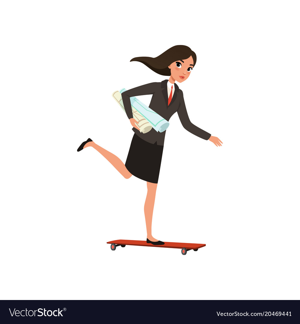 Pretty business woman riding skateboard with