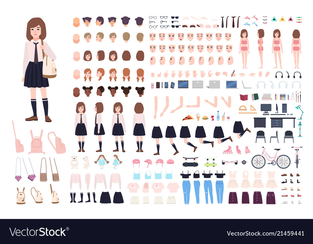 School girl constructor or diy kit set of young