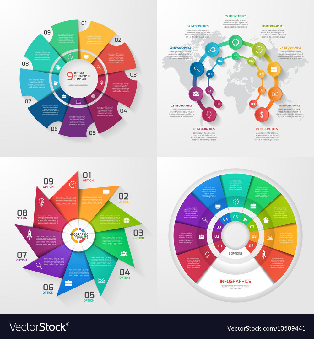 Set of 4 infographic templates with 9 options