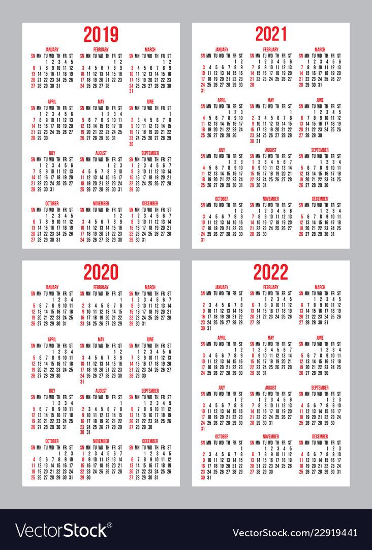 Set of calendar grid templates for pocket