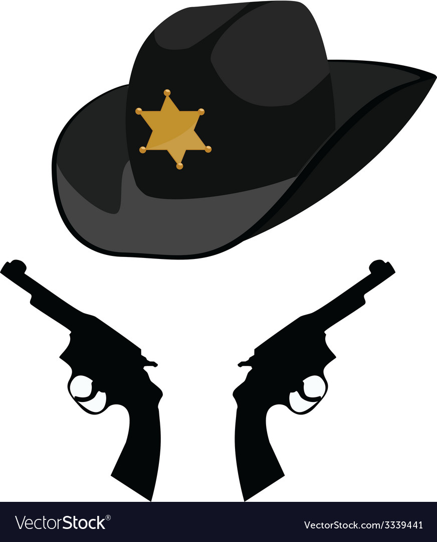 Sheriff hat and revolver