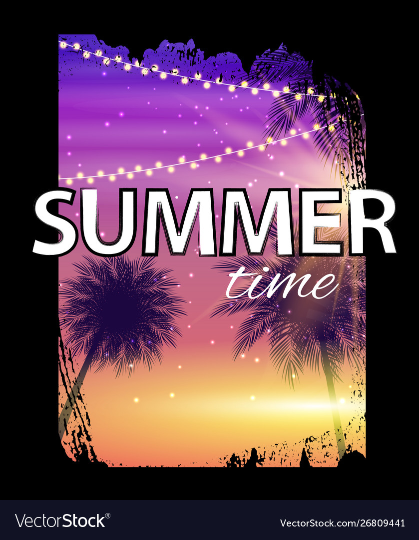 Summer time beach poster tropical natural