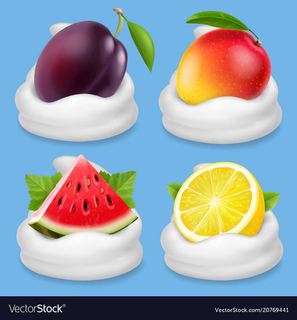 Whipped cream with fruits icon set vector image