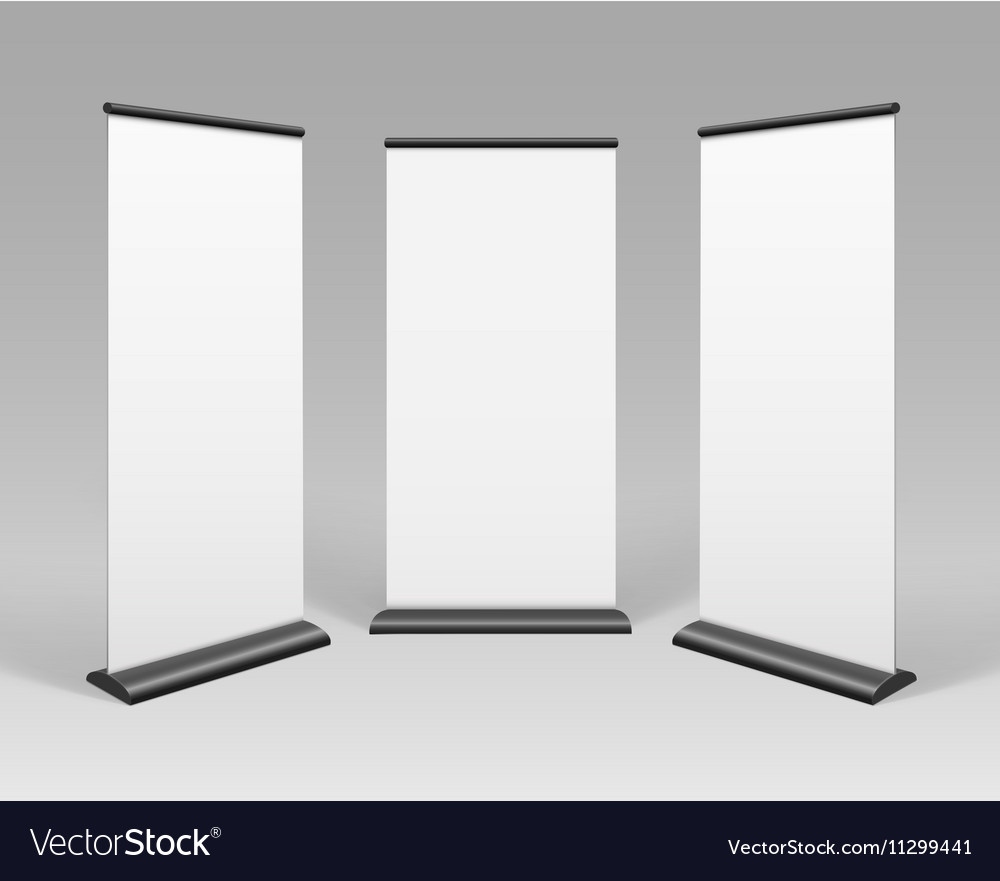 White Blank Roll up Business Banner Stands