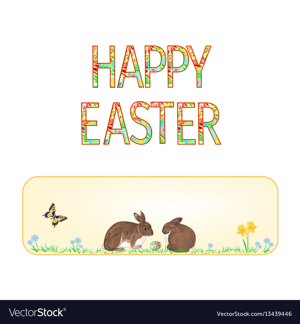 Banner happy easter rabbits and easter egg