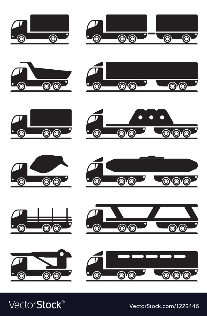 different types of trucks royalty free vector image. Black Bedroom Furniture Sets. Home Design Ideas
