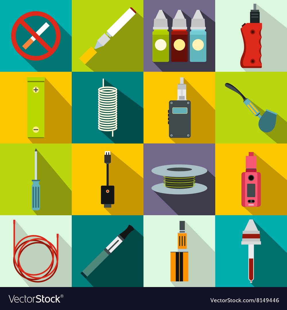 Electronic cigarettes icons set flat style