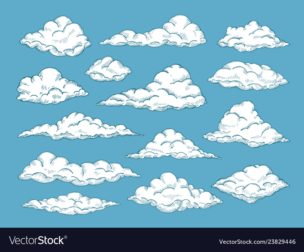 Hand drawn clouds pencil sketch sky cloudscape