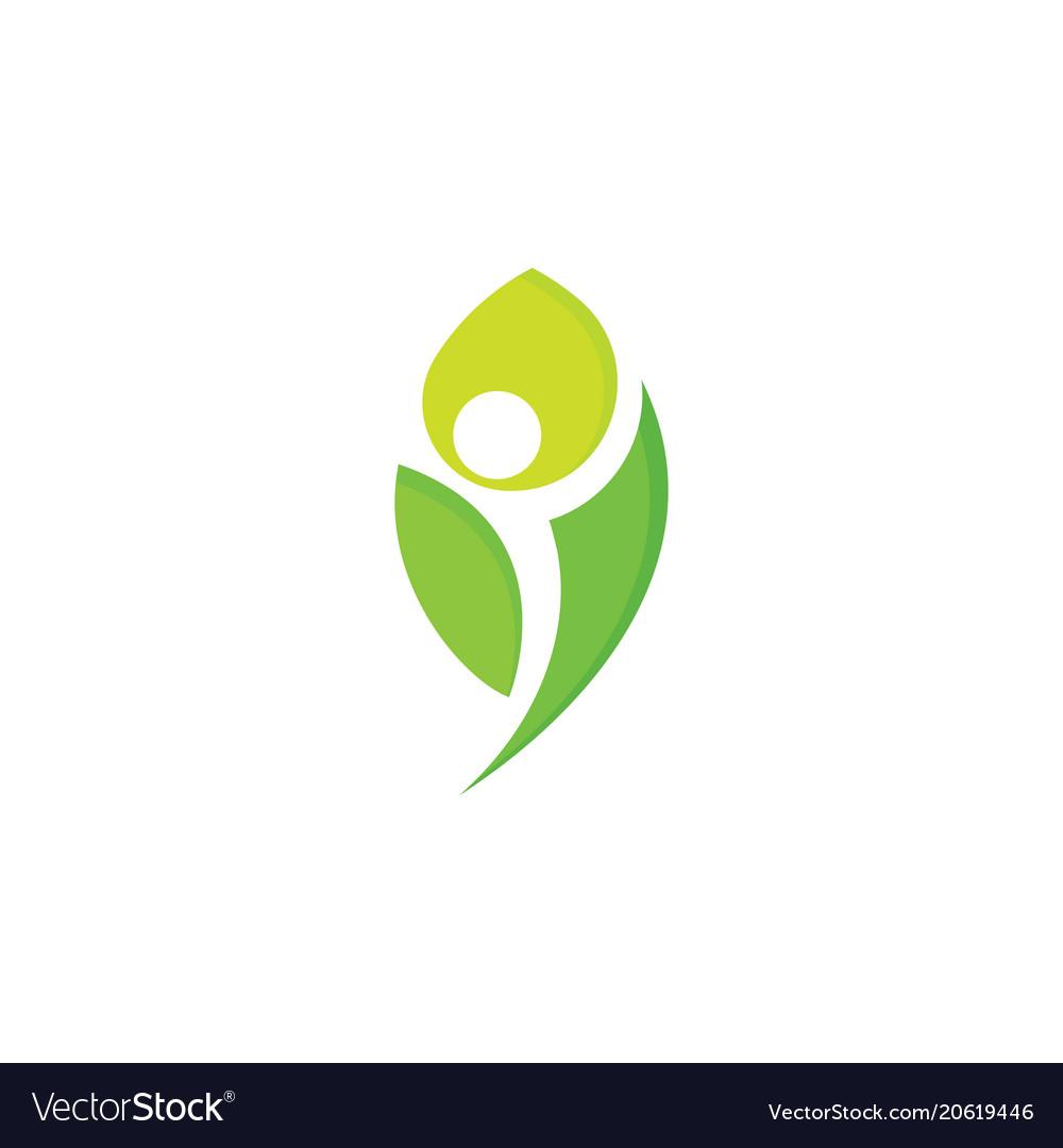 Healthy people logo green leaf man