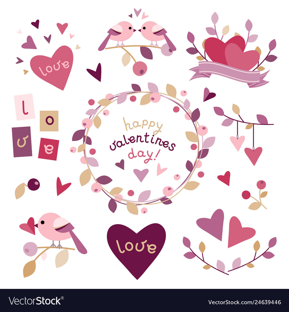 Set of design elements for valentines day
