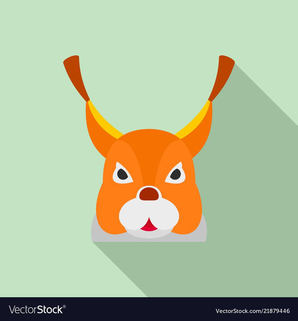 Squirrel head icon flat style