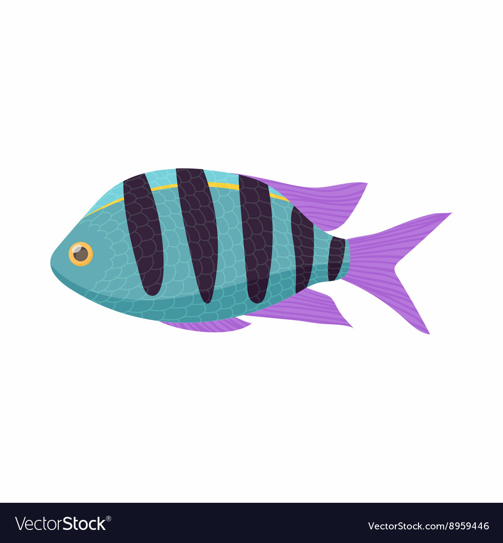 Striped tropical fish icon cartoon style