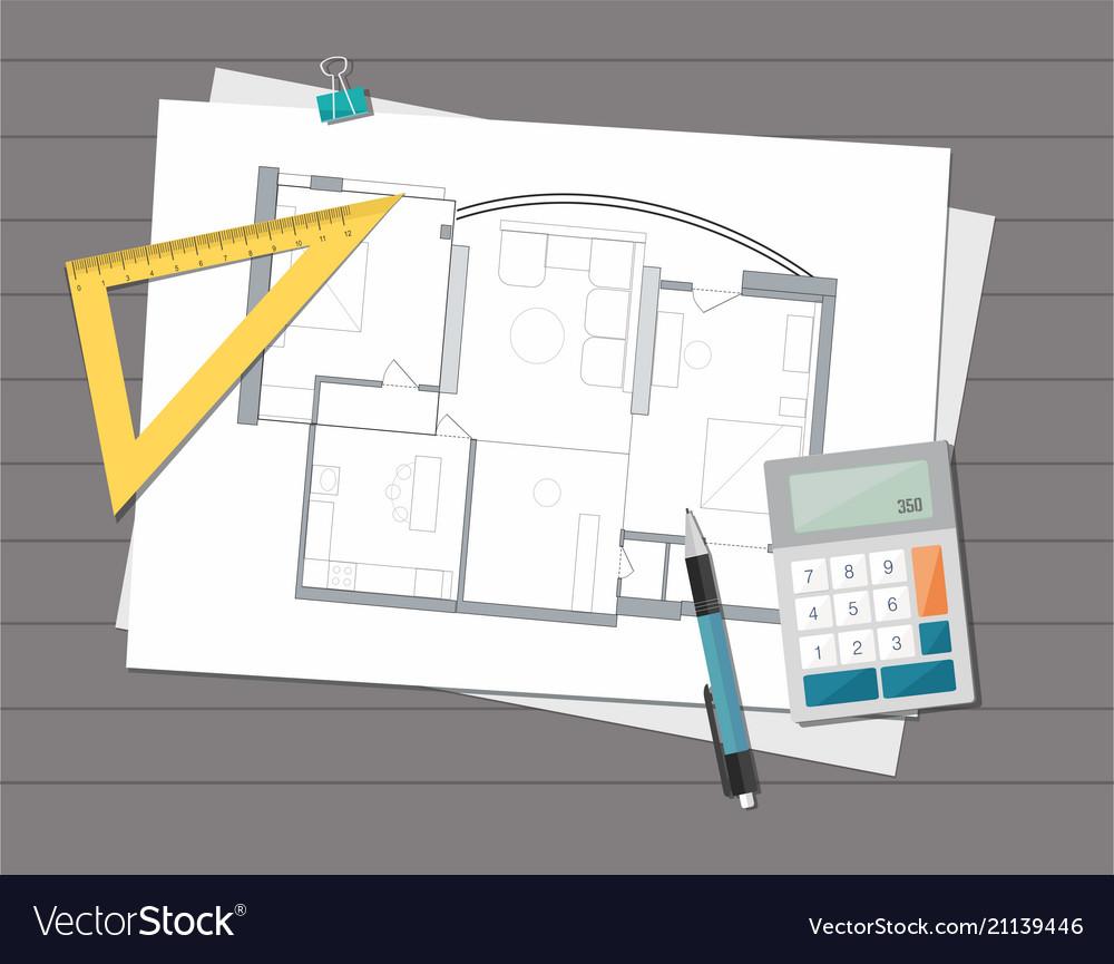 Technical Project Architect House Plan Blueprint Vector Image