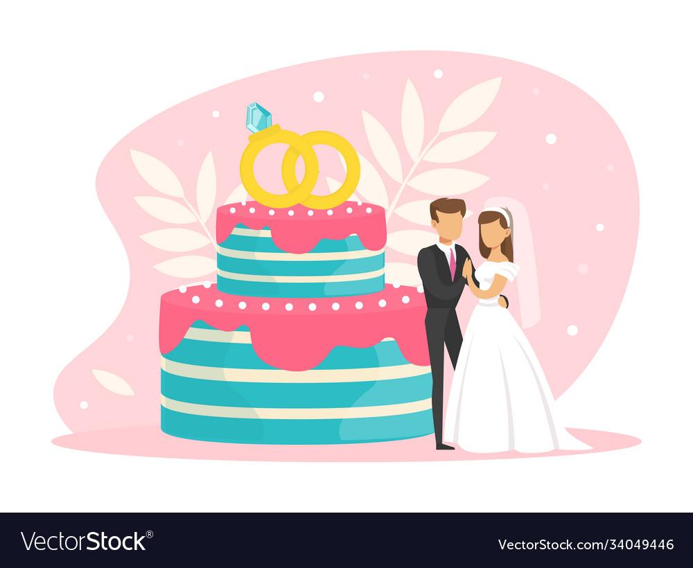 Tiny couple newlyweds standing beside wedding