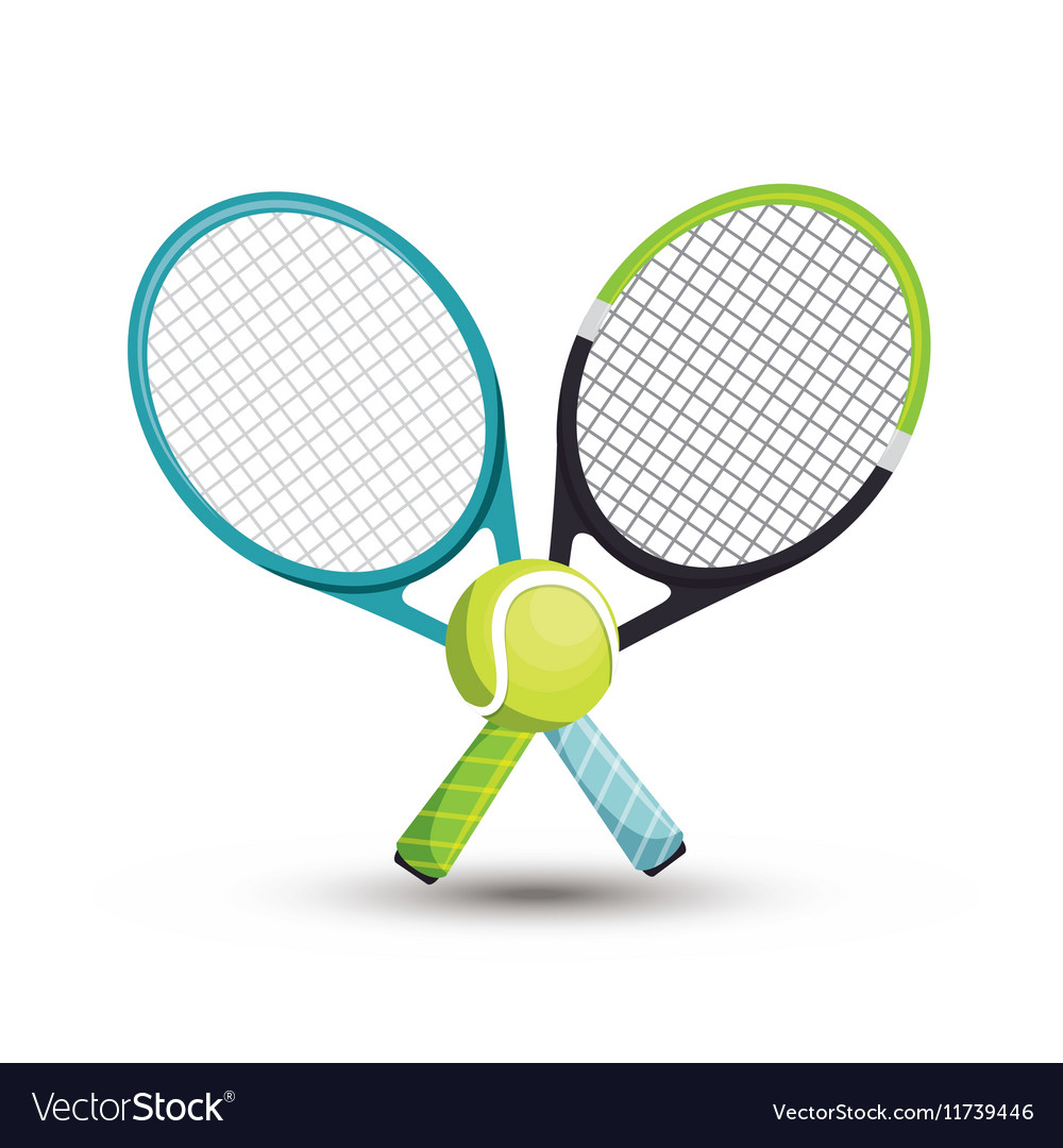 Two Racket Tennis Ball Icons Graphic Royalty Free Vector