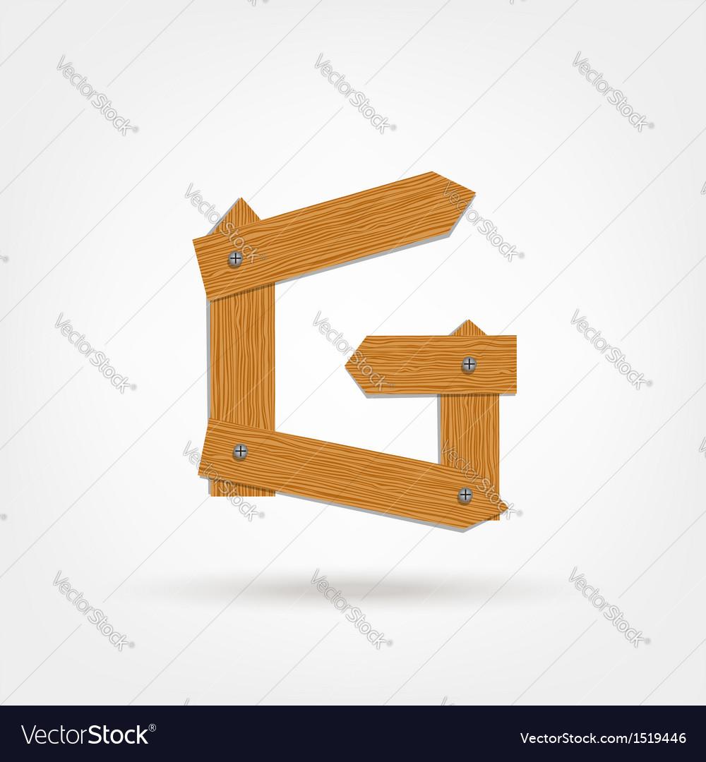 Wooden Boards Letter G vector image