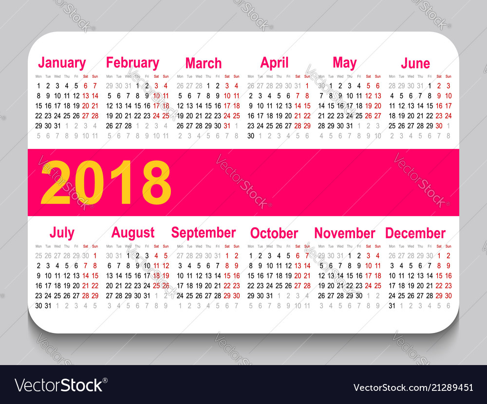 Pocket Calendar.2018 Pocket Calendar Template Calendar Grid