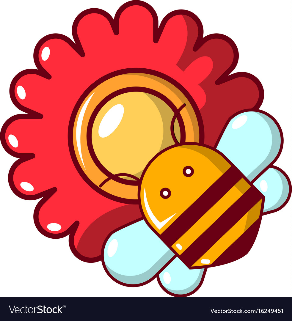 Bee on a flower icon cartoon style