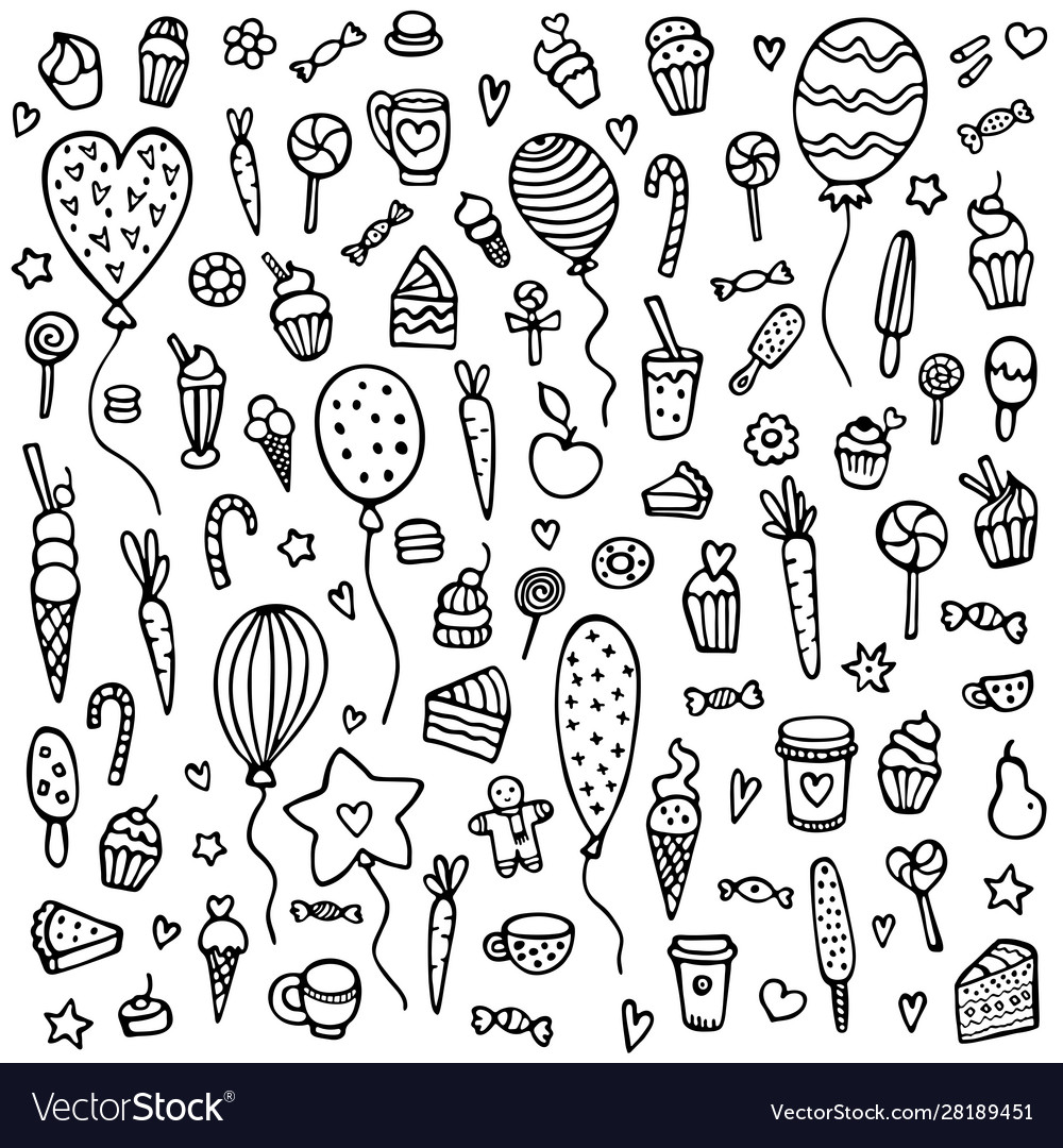 Cute hand-drawn background with sweets vector