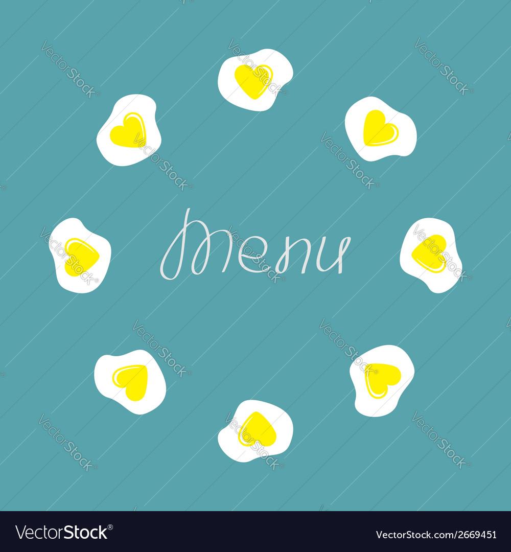 Egg round food frame Menu cover Flat design