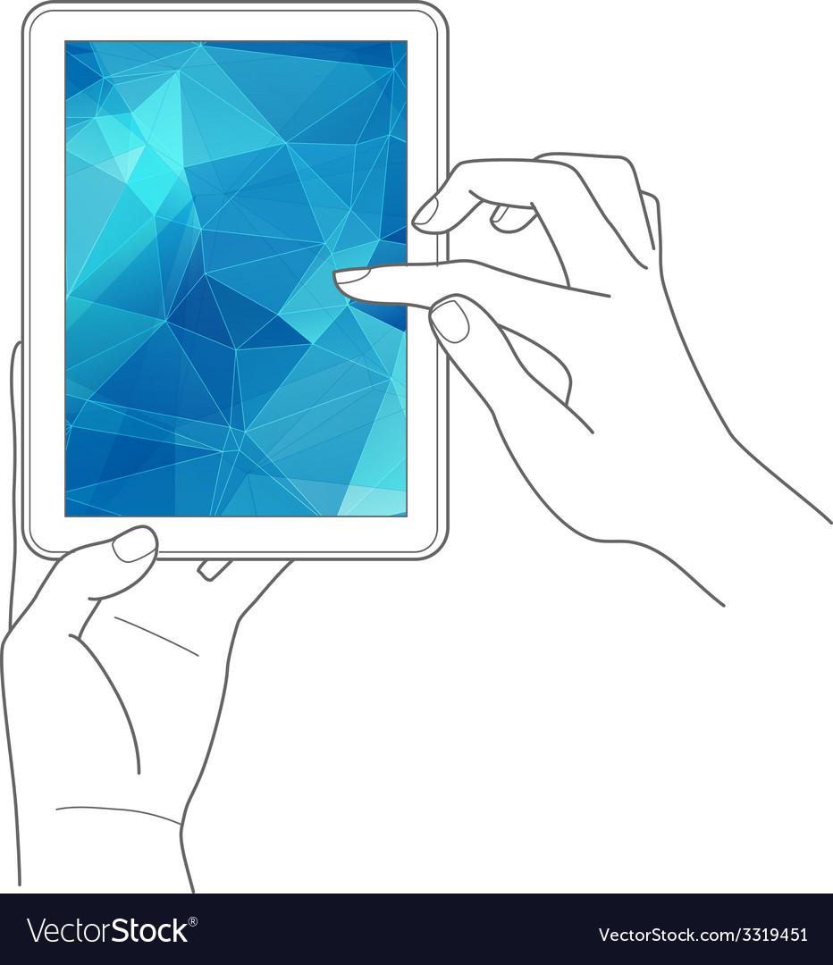 Hands holding digital tablet computer