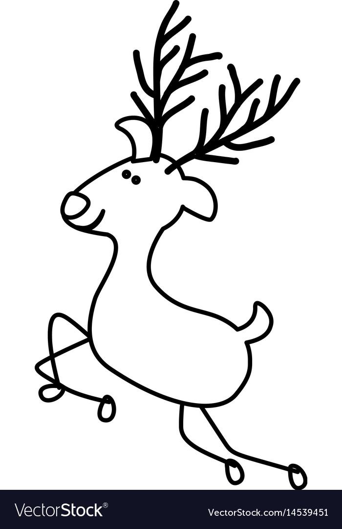 Monochrome contour caricature of graceful reindeer vector image