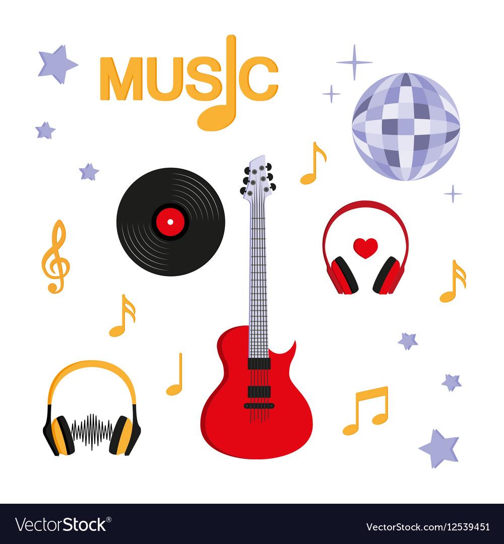 Music Guitar music record headphones disco