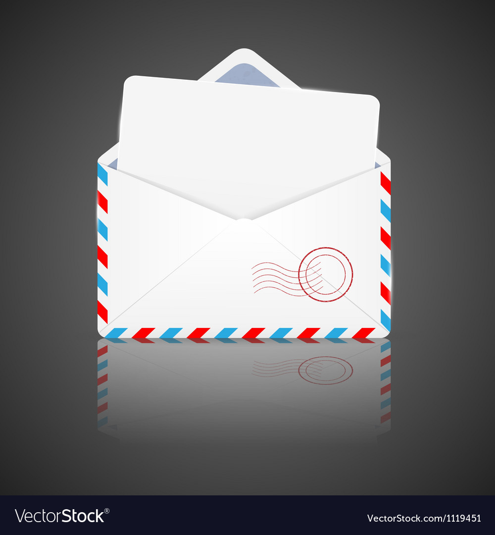 Open envelope with white paper vector image