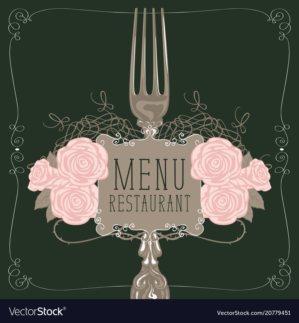 Restaurant Menu With Fork And Pink Roses Vector Image