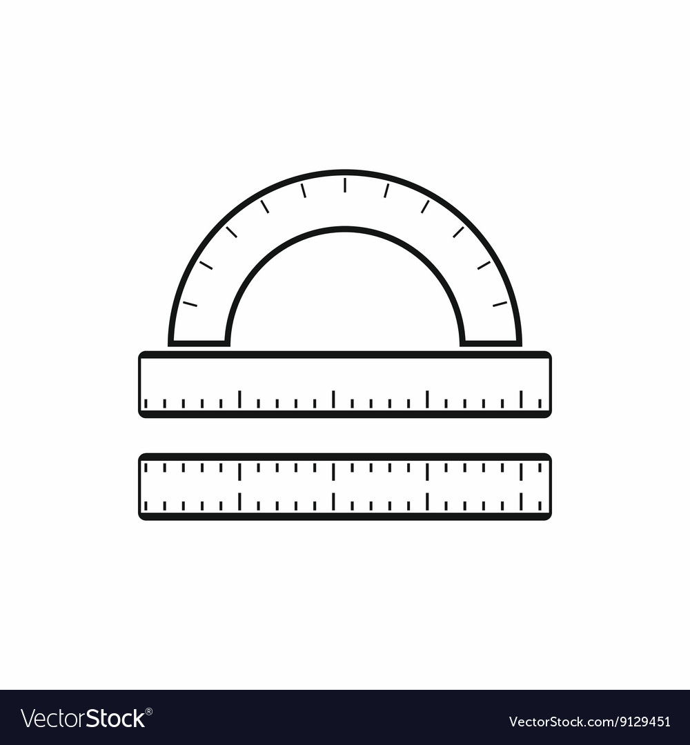 Ruler and protractor icon simple style vector image