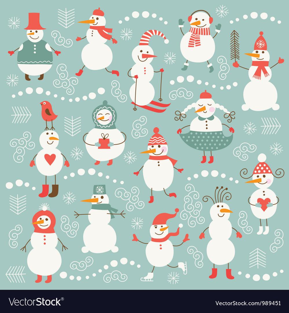 Set of cute snowmans