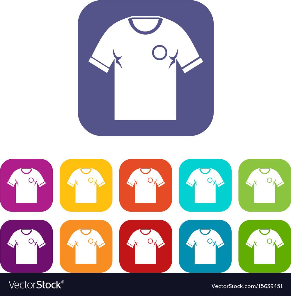 Soccer shirt icons set flat vector image