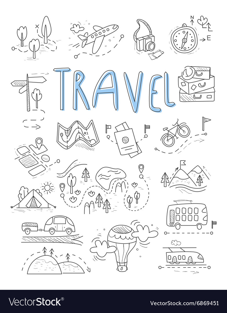 Travel camping icons in Doodle style great set