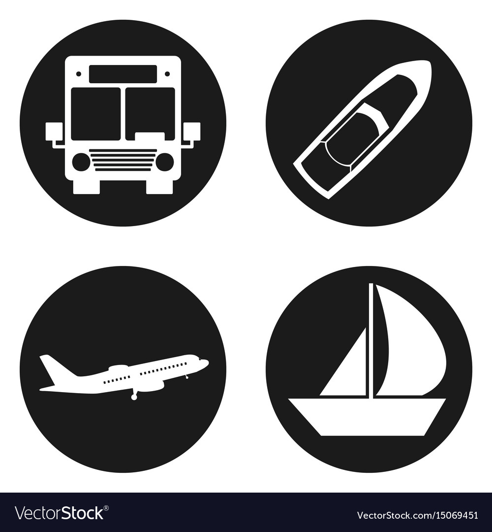 Traveling and transport icons set in circle button vector image