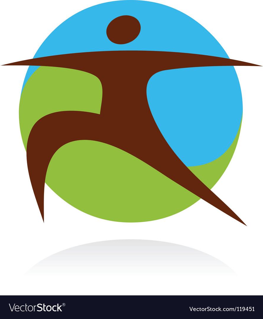 Yoga fitness logo vector image